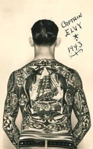Captain Elvy, traditional ship tattoo